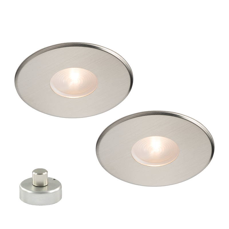 Lavanto® Pescara 68mm set 2 met opbouwdimmer rvs-look warm wit