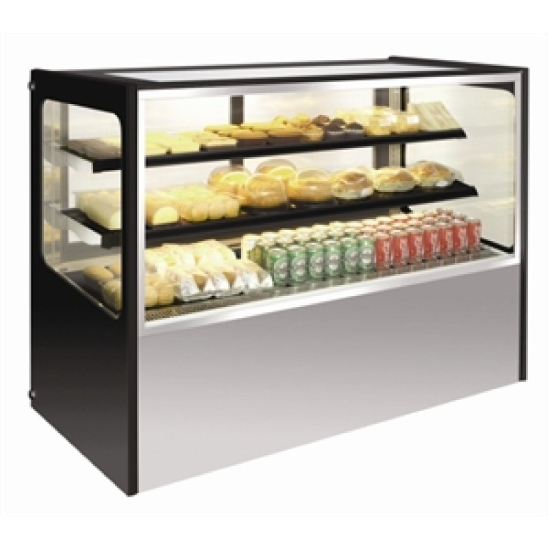 Rvs display vitrine 300 ltr.