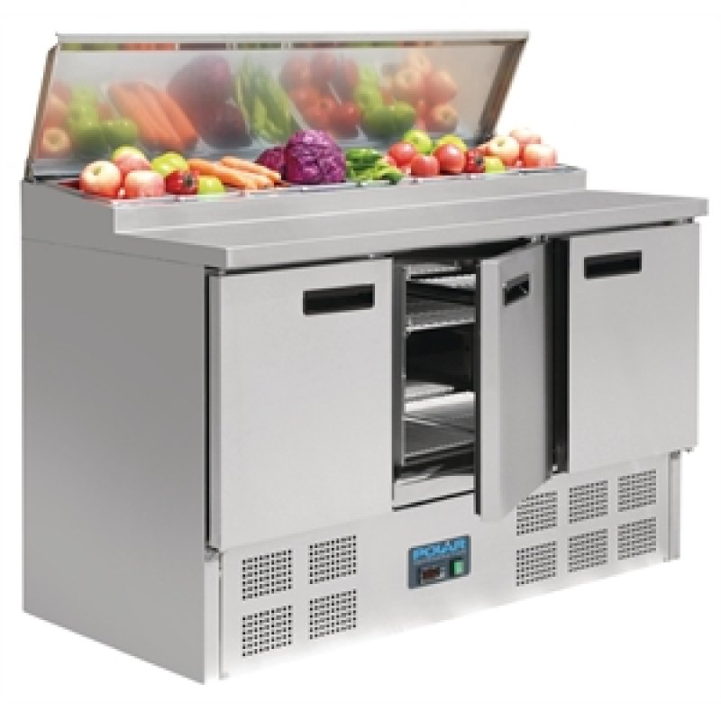 Polar rvs pizza/sandwich counter 3-deurs