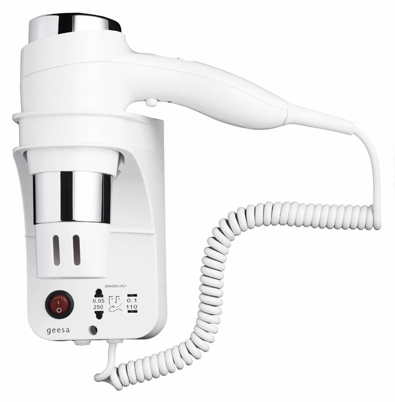 Geesa Haidryer collection Haardroger 1600 W, 3 snelheden, scheerstopcontact 110 + 220 V, wit/chroom